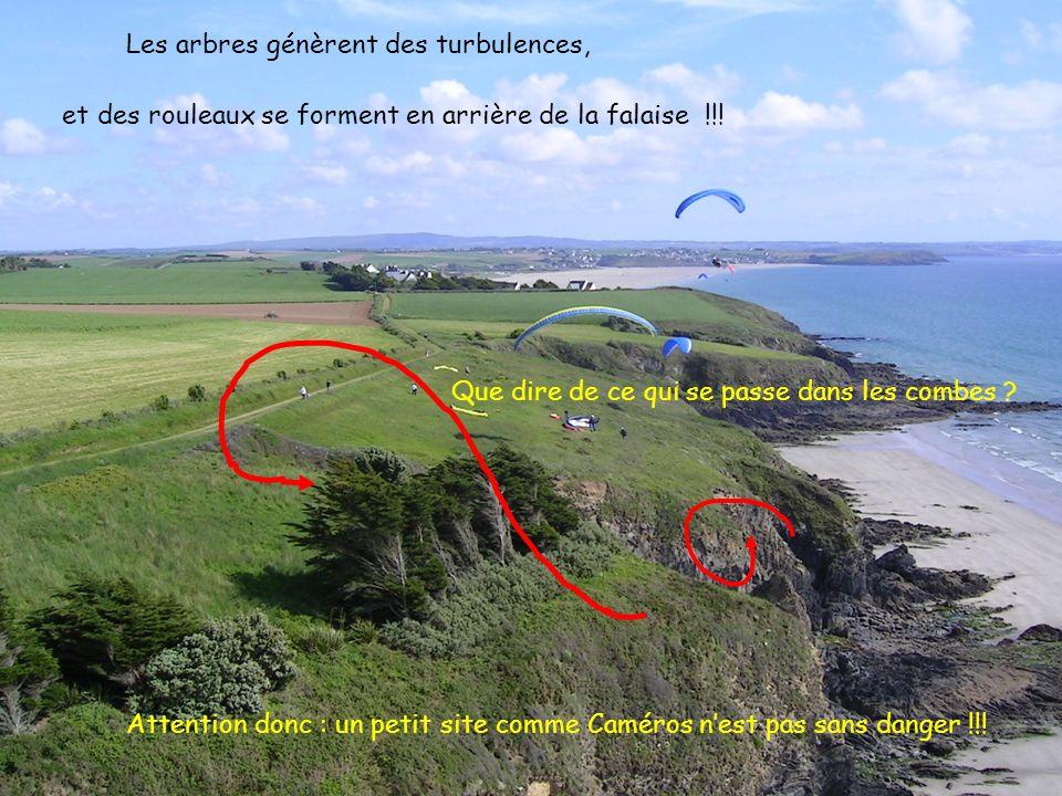 13 2005 www.vol-libre-menez-hom.com Les arbres génèrent des turbulences, et des rouleaux se forment en arrière de la falaise !!.