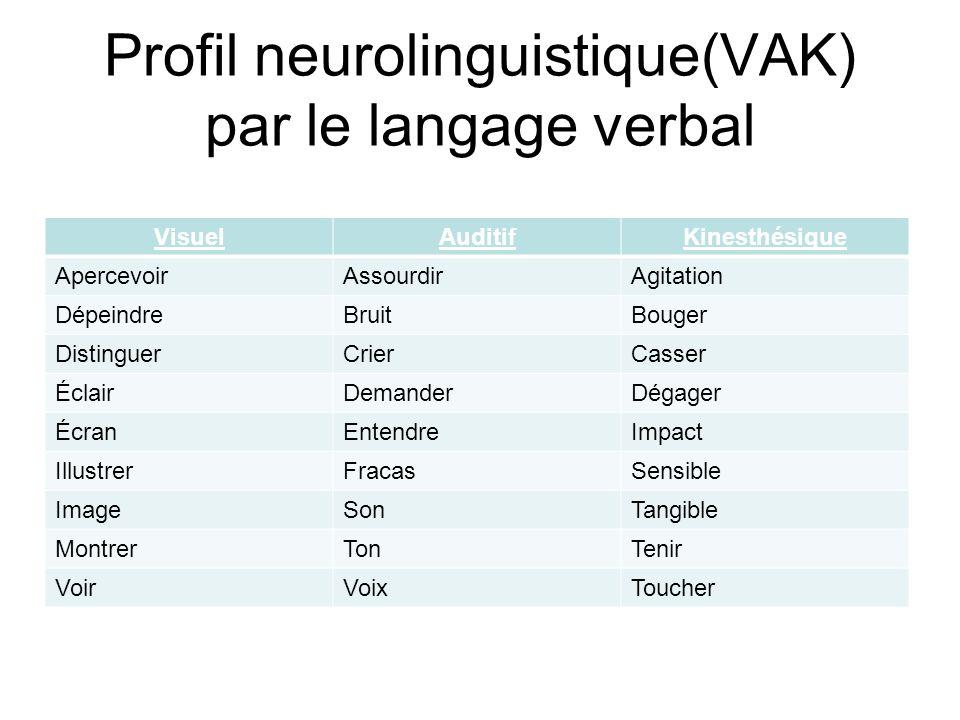 Profil neurolinguistique(VAK) par le langage verbal VisuelAuditifKinesthésique ApercevoirAssourdirAgitation DépeindreBruitBouger DistinguerCrierCasser