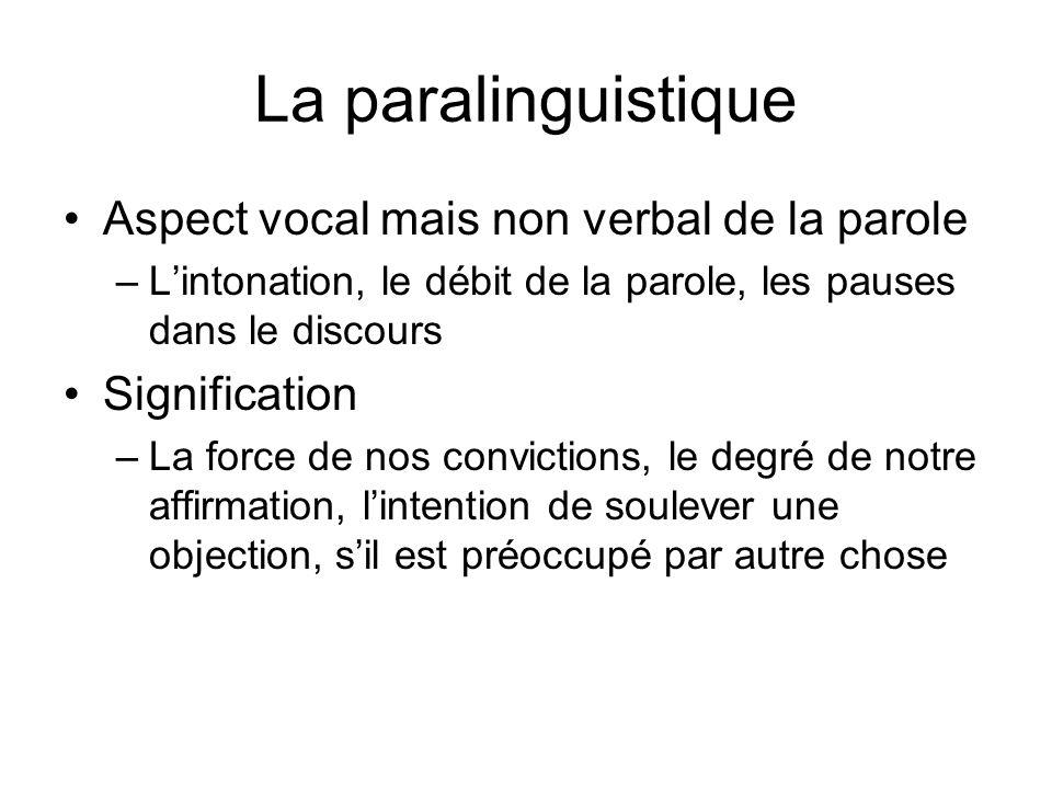 La paralinguistique Aspect vocal mais non verbal de la parole –Lintonation, le débit de la parole, les pauses dans le discours Signification –La force de nos convictions, le degré de notre affirmation, lintention de soulever une objection, sil est préoccupé par autre chose