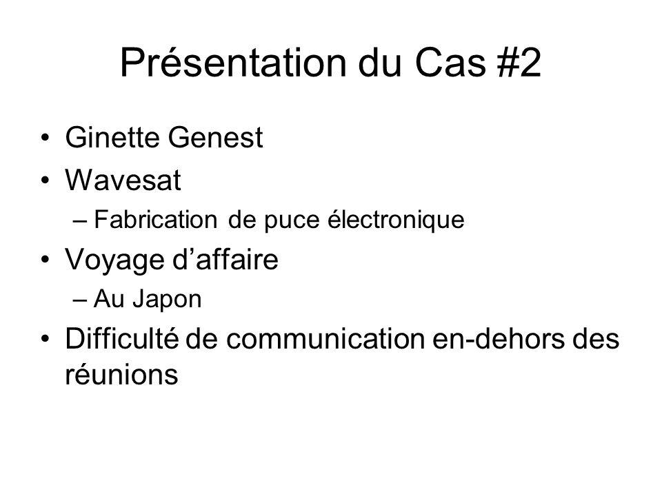 Présentation du Cas #2 Ginette Genest Wavesat –Fabrication de puce électronique Voyage daffaire –Au Japon Difficulté de communication en-dehors des réunions