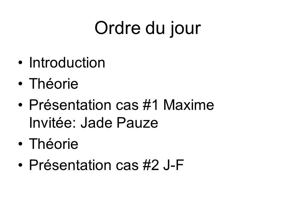 Ordre du jour Introduction Théorie Présentation cas #1 Maxime Invitée: Jade Pauze Théorie Présentation cas #2 J-F