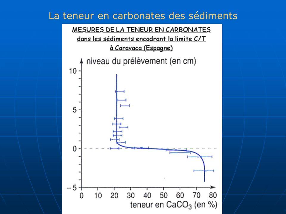 La teneur en carbonates des sédiments