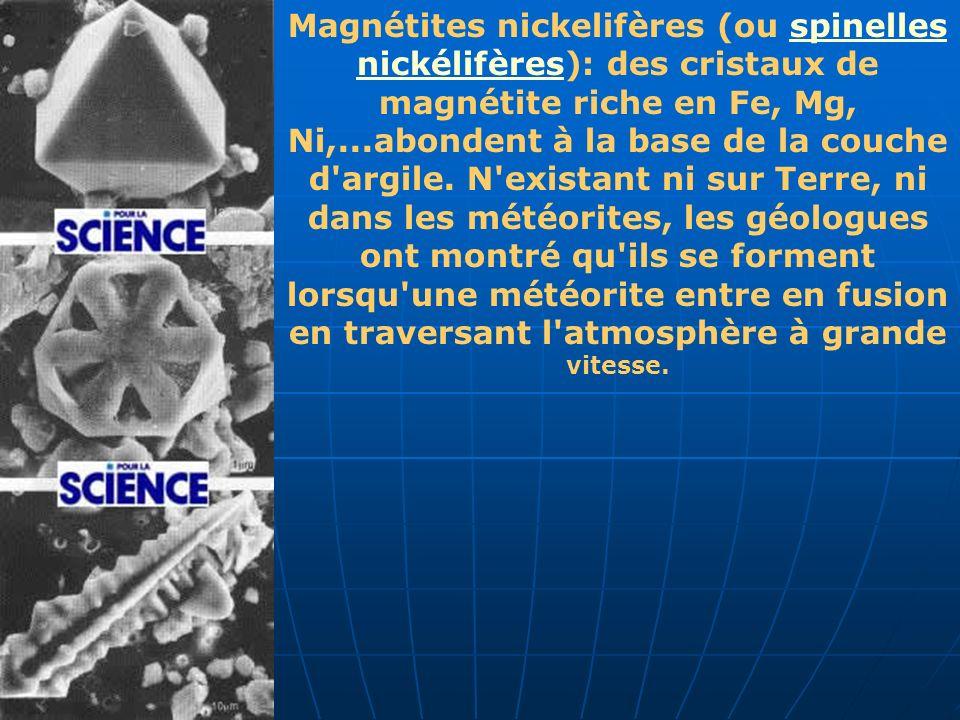 Magnétites nickelifères (ou spinelles nickélifères): des cristaux de magnétite riche en Fe, Mg, Ni,...abondent à la base de la couche d'argile. N'exis