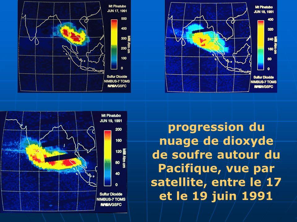 progression du nuage de dioxyde de soufre autour du Pacifique, vue par satellite, entre le 17 et le 19 juin 1991