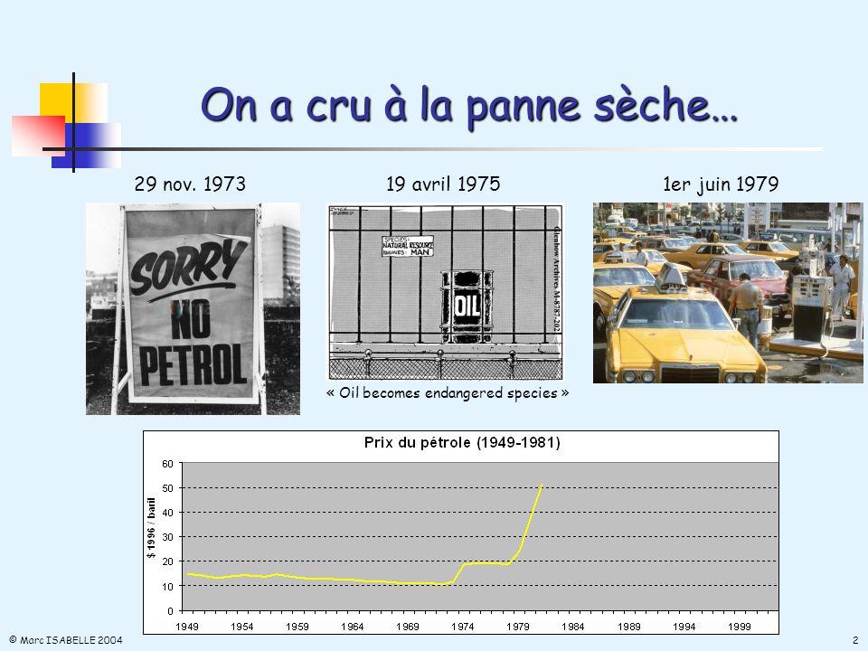 Il était une fois… les trente glorieuses (1945-1973) 5,9 % de croissance moyenne du PIB français sur trente ans… © Marc ISABELLE 2004 1 12,6 % de croissance moyenne de la consommation française de pétrole sur trente ans !