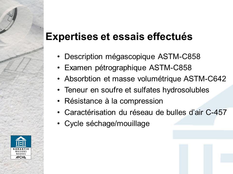 Expertises et essais effectués Description mégascopique ASTM-C858 Examen pétrographique ASTM-C858 Absorbtion et masse volumétrique ASTM-C642 Teneur en soufre et sulfates hydrosolubles Résistance à la compression Caractérisation du réseau de bulles dair C-457 Cycle séchage/mouillage