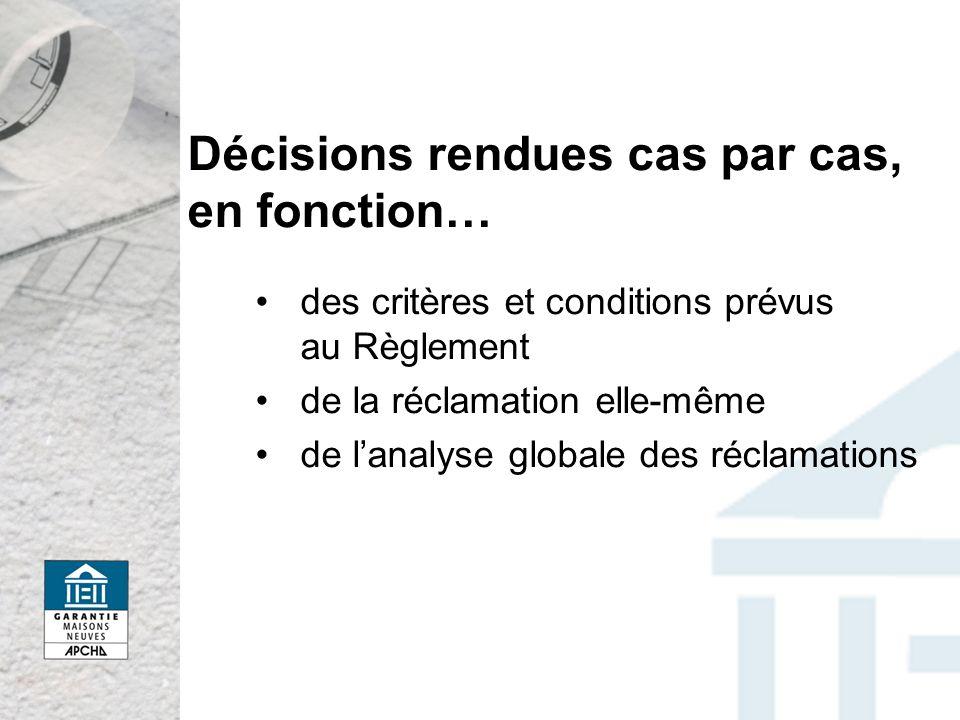 Décisions rendues cas par cas, en fonction… des critères et conditions prévus au Règlement de la réclamation elle-même de lanalyse globale des réclamations