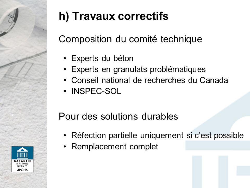 h) Travaux correctifs Composition du comité technique Experts du béton Experts en granulats problématiques Conseil national de recherches du Canada IN