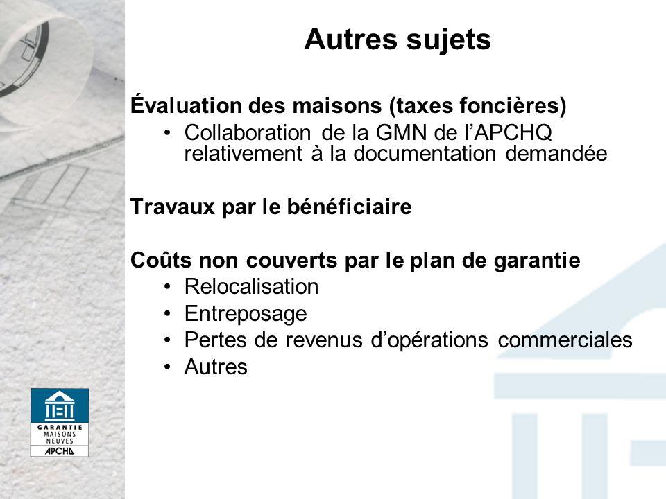 Autres sujets Évaluation des maisons (taxes foncières) Collaboration de la GMN de lAPCHQ relativement à la documentation demandée Travaux par le bénéf