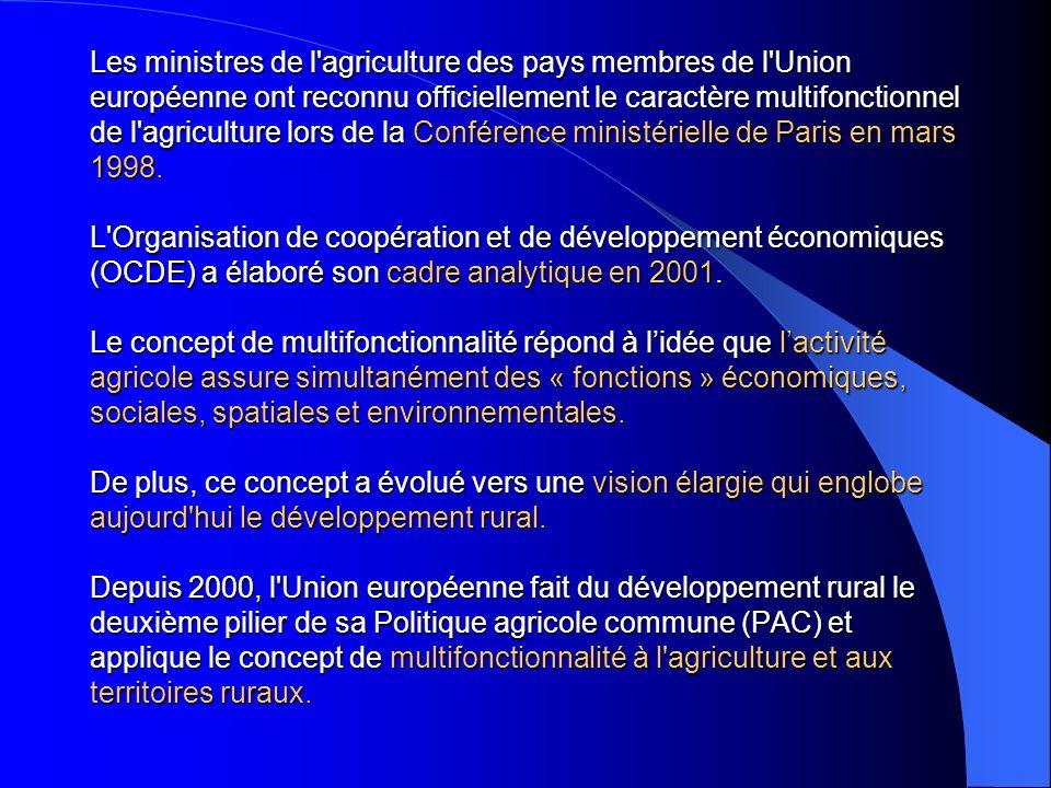 Les ministres de l'agriculture des pays membres de l'Union européenne ont reconnu officiellement le caractère multifonctionnel de l'agriculture lors d
