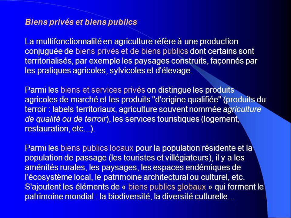 Biens privés et biens publics La multifonctionnalité en agriculture réfère à une production conjuguée de biens privés et de biens publics dont certain