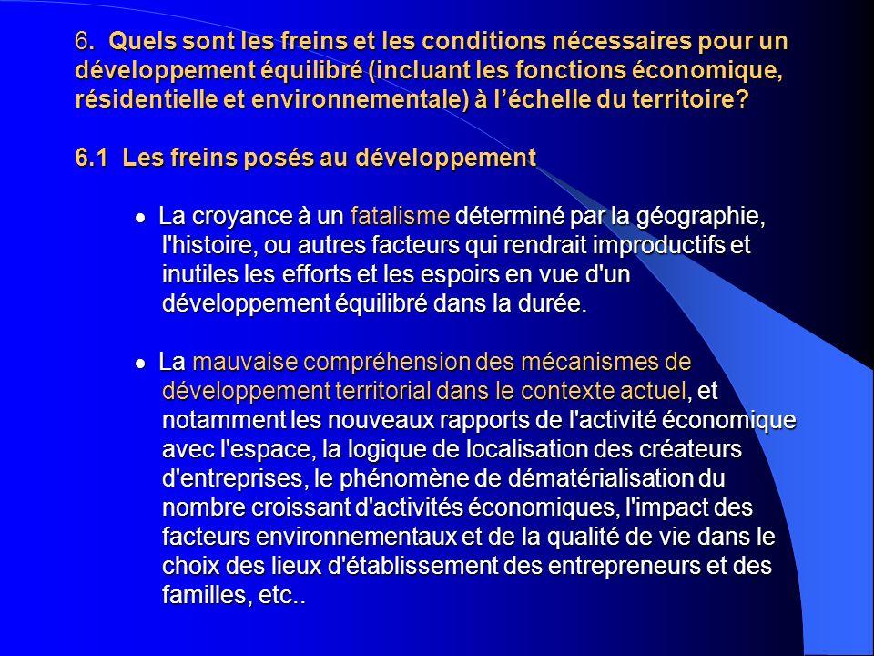 6. Quels sont les freins et les conditions nécessaires pour un développement équilibré (incluant les fonctions économique, résidentielle et environnem