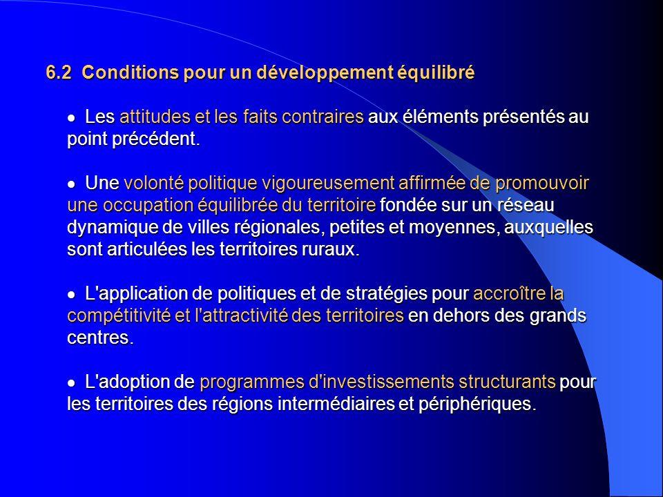 6.2 Conditions pour un développement équilibré Les attitudes et les faits contraires aux éléments présentés au point précédent. Une volonté politique