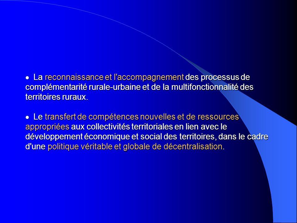 La reconnaissance et l'accompagnement des processus de complémentarité rurale-urbaine et de la multifonctionnalité des territoires ruraux. Le transfer