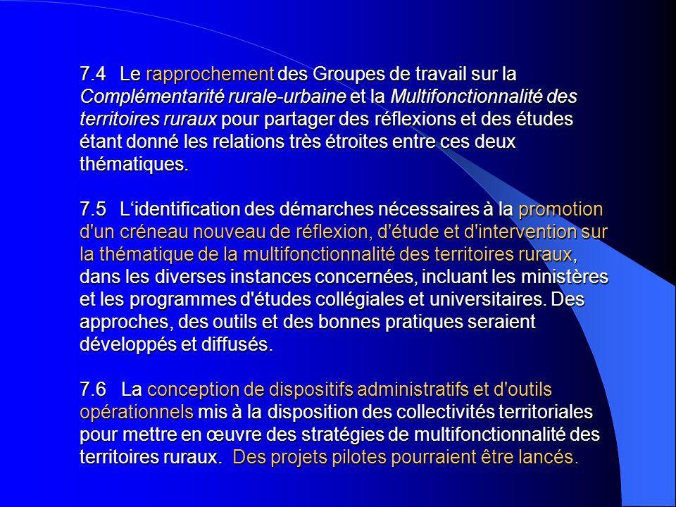 7.4 Le rapprochement des Groupes de travail sur la Complémentarité rurale-urbaine et la Multifonctionnalité des territoires ruraux pour partager des r