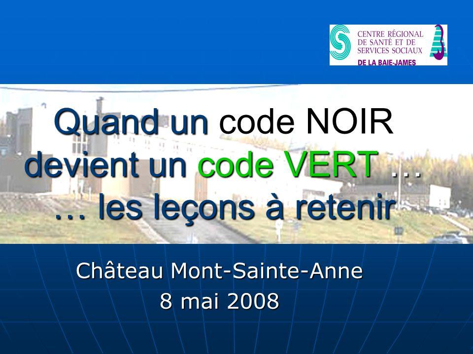 Quand un code NOIR devient un code VERT … … les leçons à retenir Château Mont-Sainte-Anne 8 mai 2008