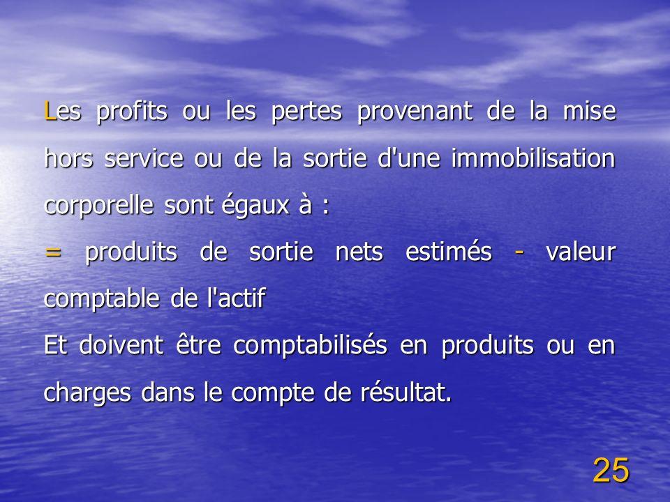 25 Les profits ou les pertes provenant de la mise hors service ou de la sortie d'une immobilisation corporelle sont égaux à : = produits de sortie net