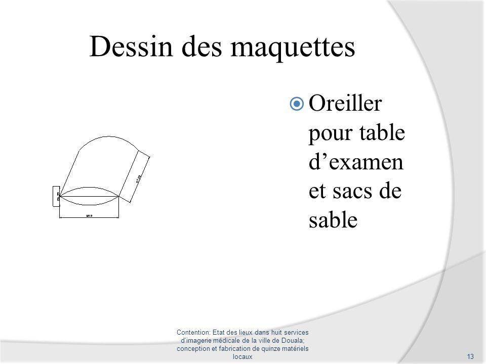 Dessin des maquettes Oreiller pour table dexamen et sacs de sable Contention: Etat des lieux dans huit services d'imagerie médicale de la ville de Dou