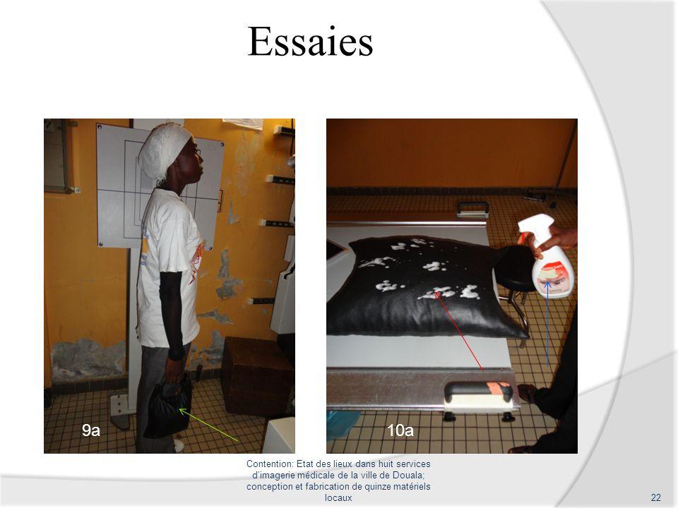 Essaies Contention: Etat des lieux dans huit services d'imagerie médicale de la ville de Douala; conception et fabrication de quinze matériels locaux2