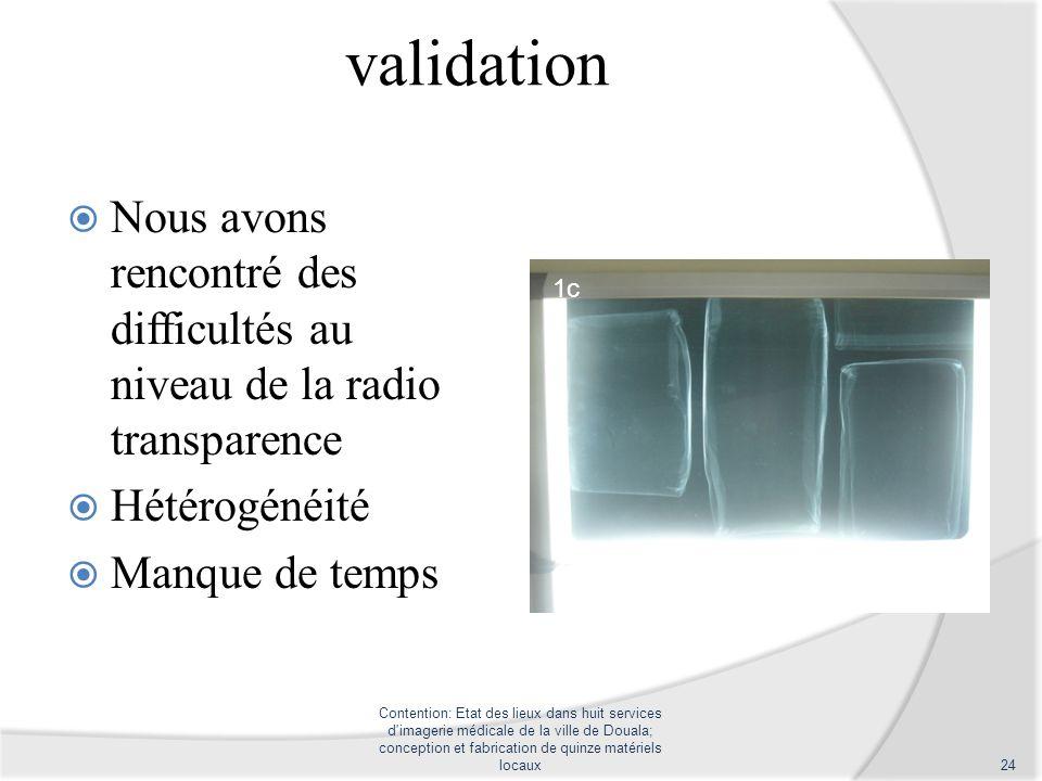 validation Nous avons rencontré des difficultés au niveau de la radio transparence Hétérogénéité Manque de temps Contention: Etat des lieux dans huit