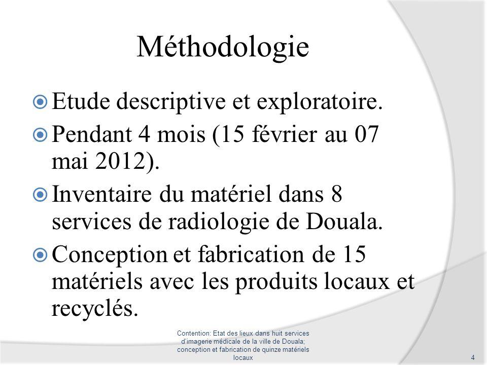 Méthodologie Etude descriptive et exploratoire. Pendant 4 mois (15 février au 07 mai 2012). Inventaire du matériel dans 8 services de radiologie de Do