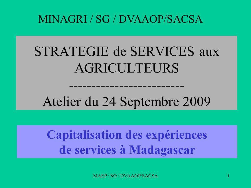 MAEP / SG / DVAAOP/SACSA1 STRATEGIE de SERVICES aux AGRICULTEURS ------------------------- Atelier du 24 Septembre 2009 MINAGRI / SG / DVAAOP/SACSA Capitalisation des expériences de services à Madagascar