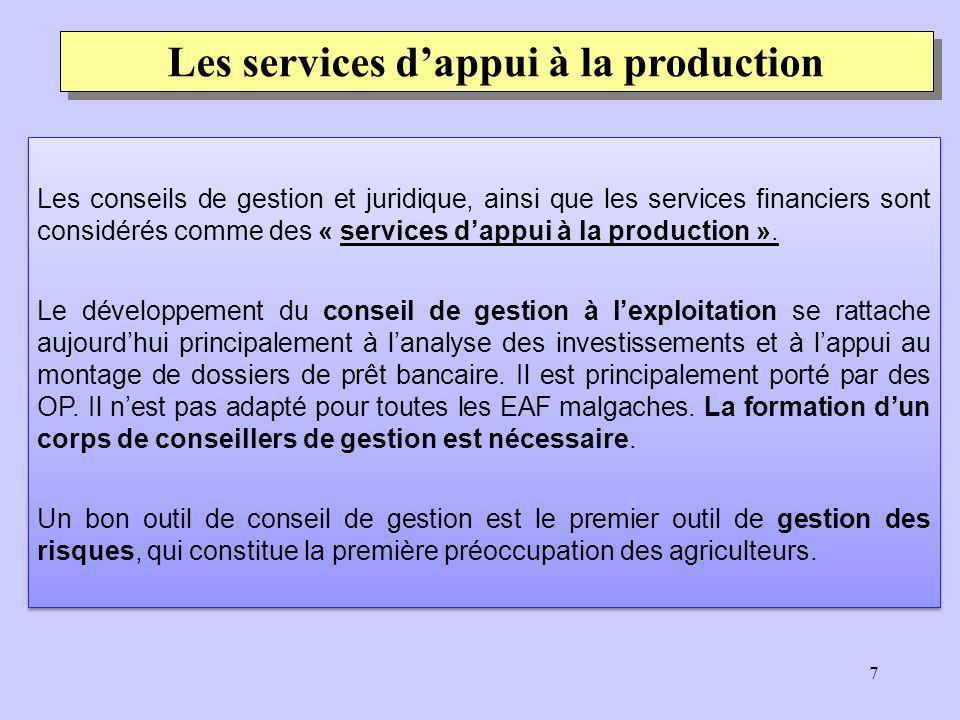 8 Les services dappui à la production La mise en place des guichets fonciers permet à un plus grand nombre de ménages agricoles daccéder rapidement et à prix accessible à une plus grande sécurité foncière.