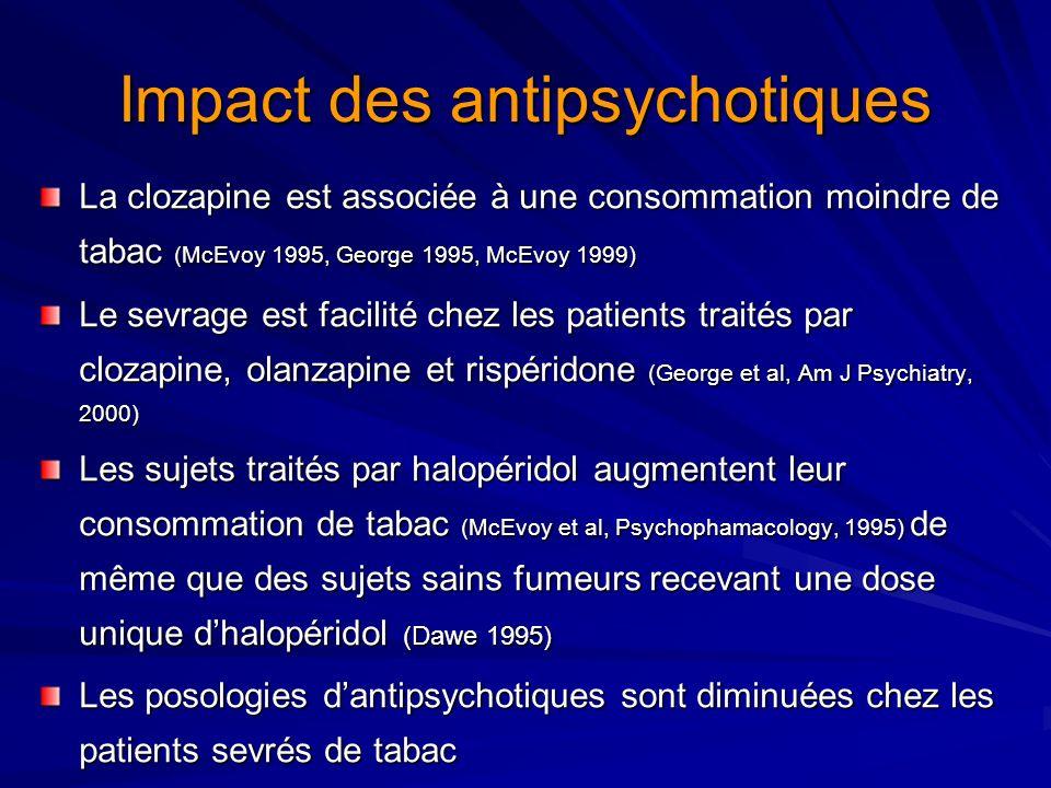 Impact des antipsychotiques La clozapine est associée à une consommation moindre de tabac (McEvoy 1995, George 1995, McEvoy 1999) Le sevrage est facil