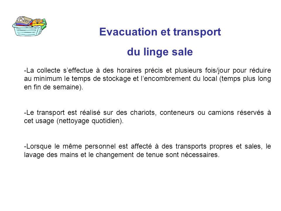 Evacuation et transport du linge sale -La collecte seffectue à des horaires précis et plusieurs fois/jour pour réduire au minimum le temps de stockage