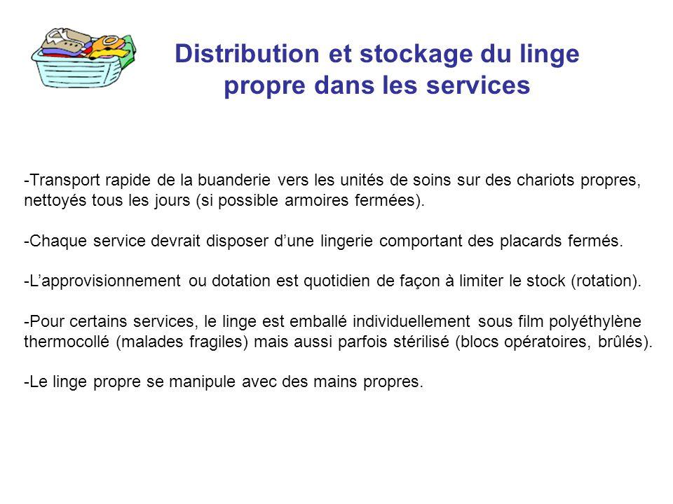 Distribution et stockage du linge propre dans les services -Transport rapide de la buanderie vers les unités de soins sur des chariots propres, nettoy
