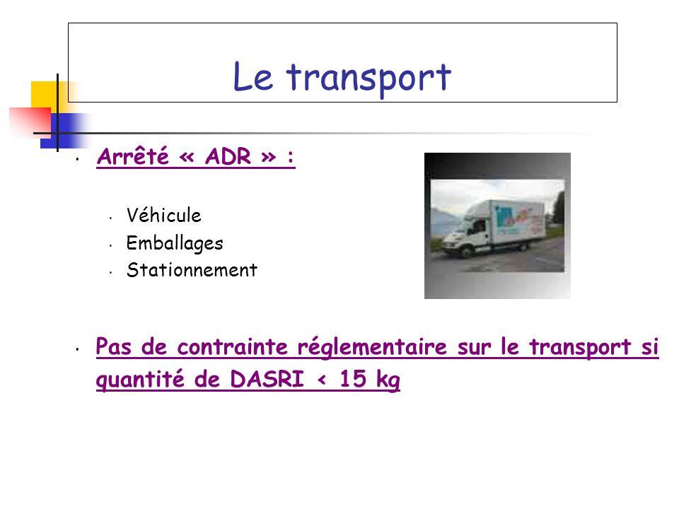 Le transport Arrêté « ADR » : Véhicule Emballages Stationnement Pas de contrainte réglementaire sur le transport si quantité de DASRI < 15 kg