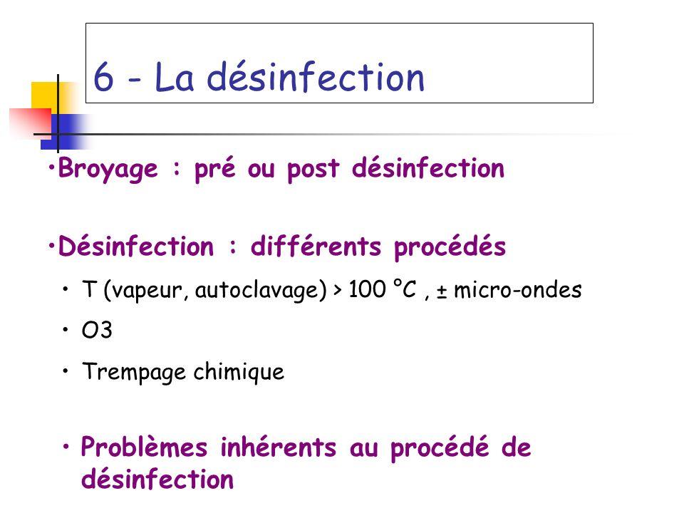 6 - La désinfection Broyage : pré ou post désinfection Désinfection : différents procédés T (vapeur, autoclavage) > 100 °C, ± micro-ondes O3 Trempage