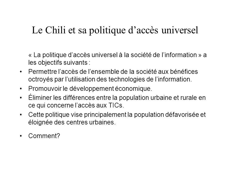 Le Chili et sa politique daccès universel « La politique daccès universel à la société de linformation » a les objectifs suivants : Permettre laccès de lensemble de la société aux bénéfices octroyés par lutilisation des technologies de linformation.