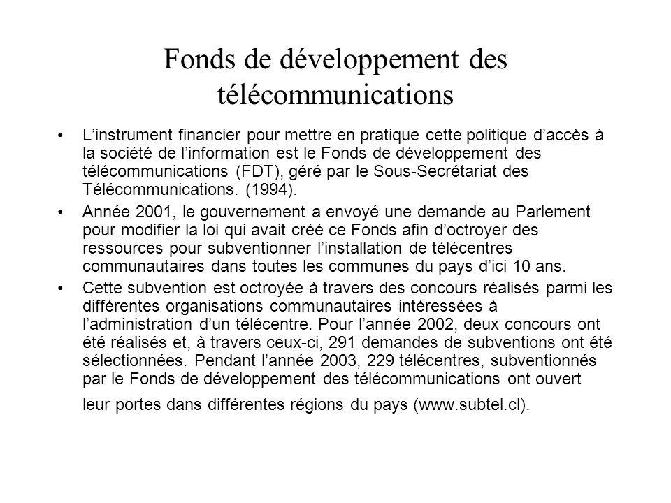 Fonds de développement des télécommunications Linstrument financier pour mettre en pratique cette politique daccès à la société de linformation est le Fonds de développement des télécommunications (FDT), géré par le Sous-Secrétariat des Télécommunications.