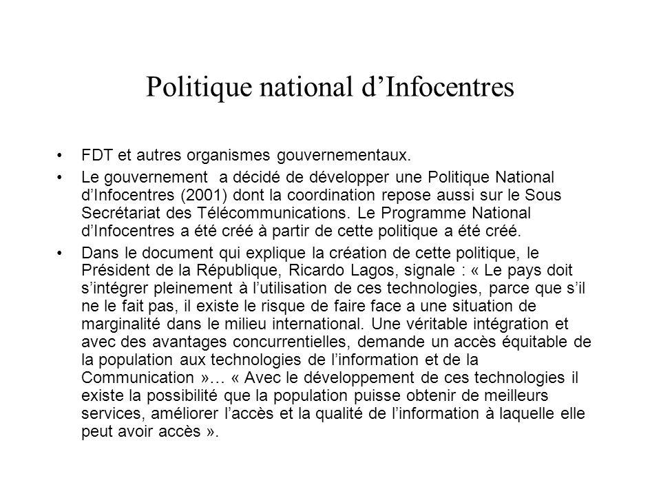 Politique national dInfocentres FDT et autres organismes gouvernementaux.