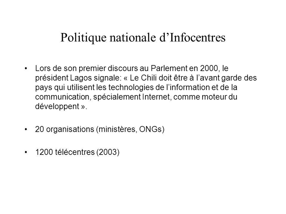 Politique nationale dInfocentres Lors de son premier discours au Parlement en 2000, le président Lagos signale: « Le Chili doit être à lavant garde des pays qui utilisent les technologies de linformation et de la communication, spécialement Internet, comme moteur du développent ».