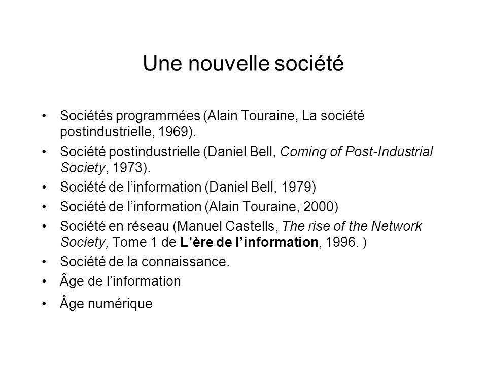 Une nouvelle société Sociétés programmées (Alain Touraine, La société postindustrielle, 1969).