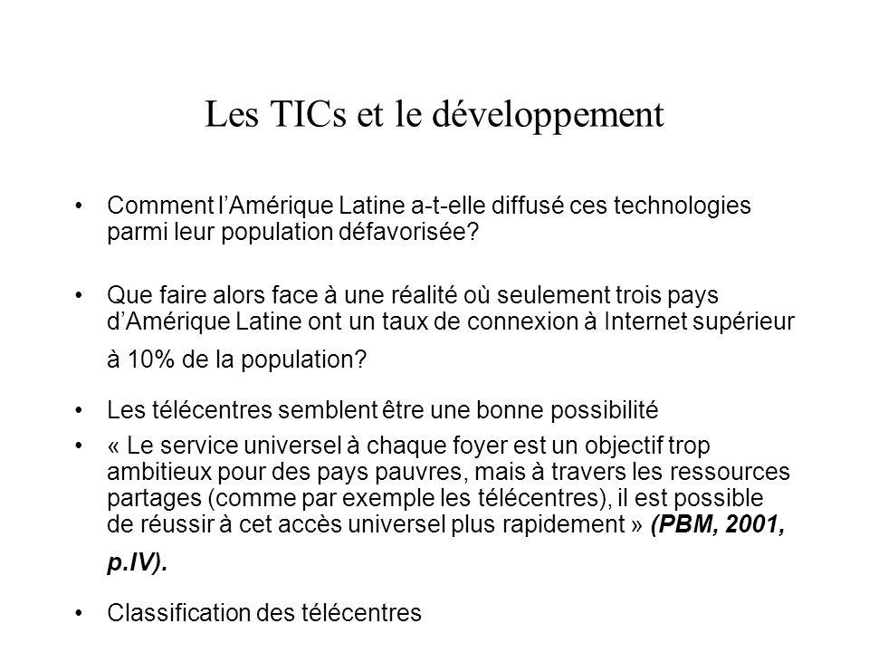 Les TICs et le développement Comment lAmérique Latine a-t-elle diffusé ces technologies parmi leur population défavorisée.