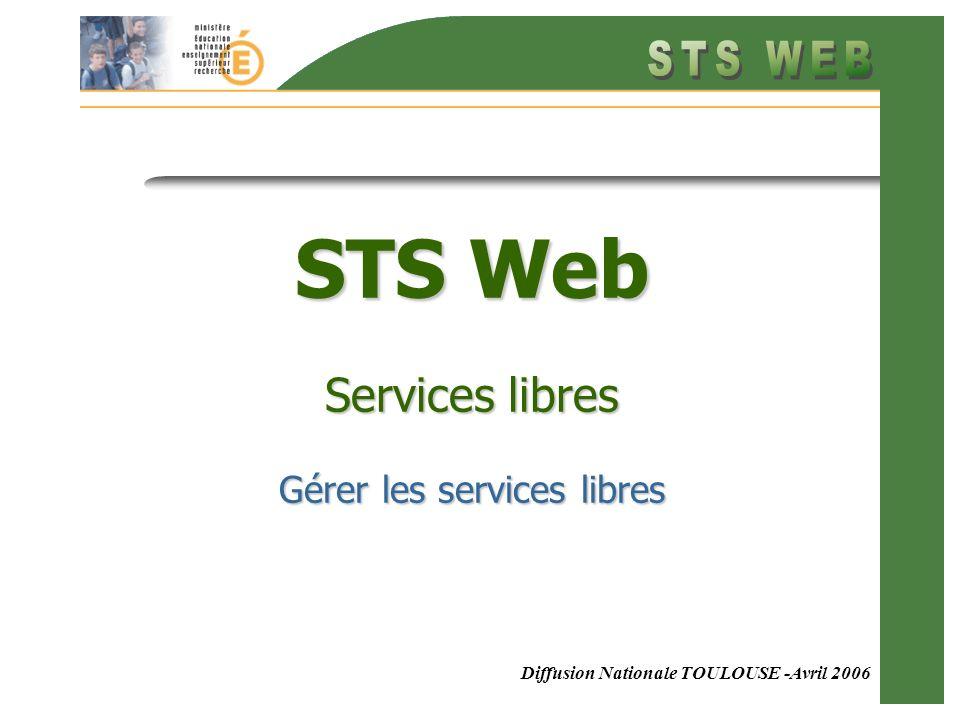 Diffusion Nationale TOULOUSE -Avril 2006 STS Web Services libres Gérer les services libres