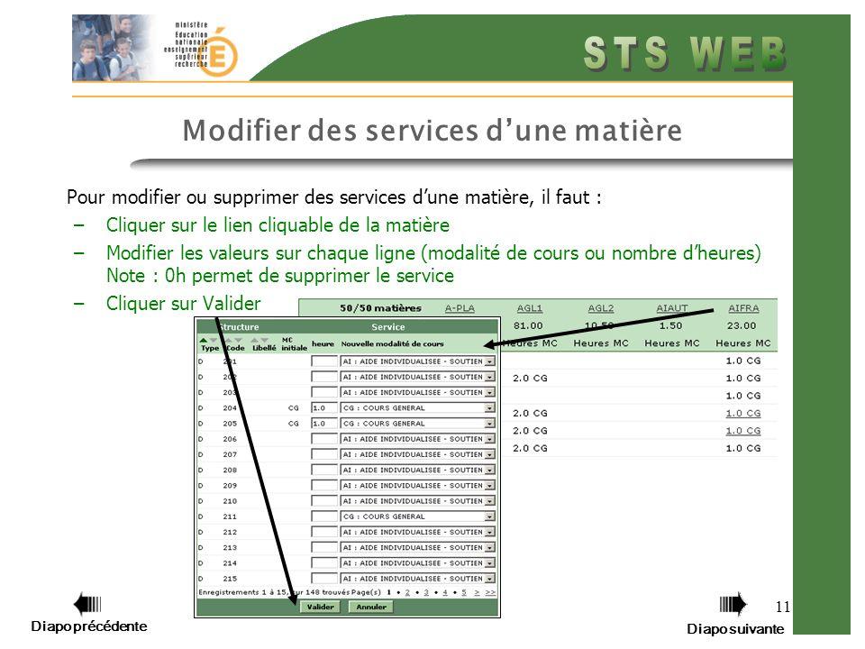 11 Modifier des services dune matière Pour modifier ou supprimer des services dune matière, il faut : –Cliquer sur le lien cliquable de la matière –Mo