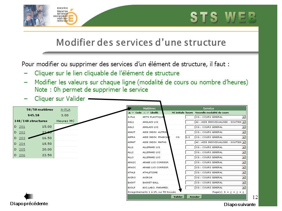 12 Modifier des services dune structure Pour modifier ou supprimer des services dun élément de structure, il faut : –Cliquer sur le lien cliquable de