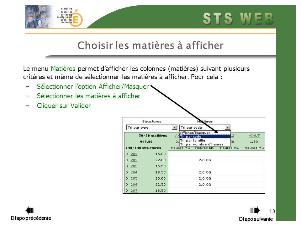13 Choisir les matières à afficher Le menu Matières permet dafficher les colonnes (matières) suivant plusieurs critères et même de sélectionner les matières à afficher.
