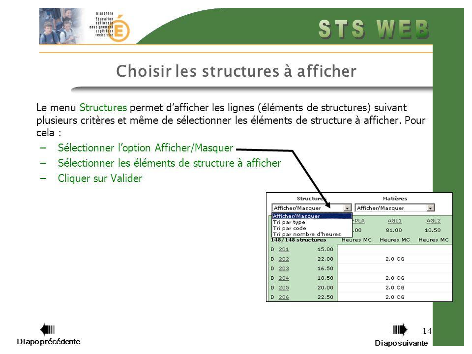 14 Choisir les structures à afficher Le menu Structures permet dafficher les lignes (éléments de structures) suivant plusieurs critères et même de sélectionner les éléments de structure à afficher.