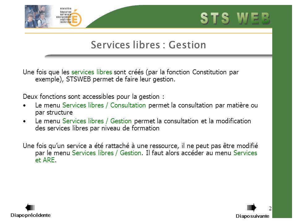 2 Services libres : Gestion Une fois que les services libres sont créés (par la fonction Constitution par exemple), STSWEB permet de faire leur gestion.