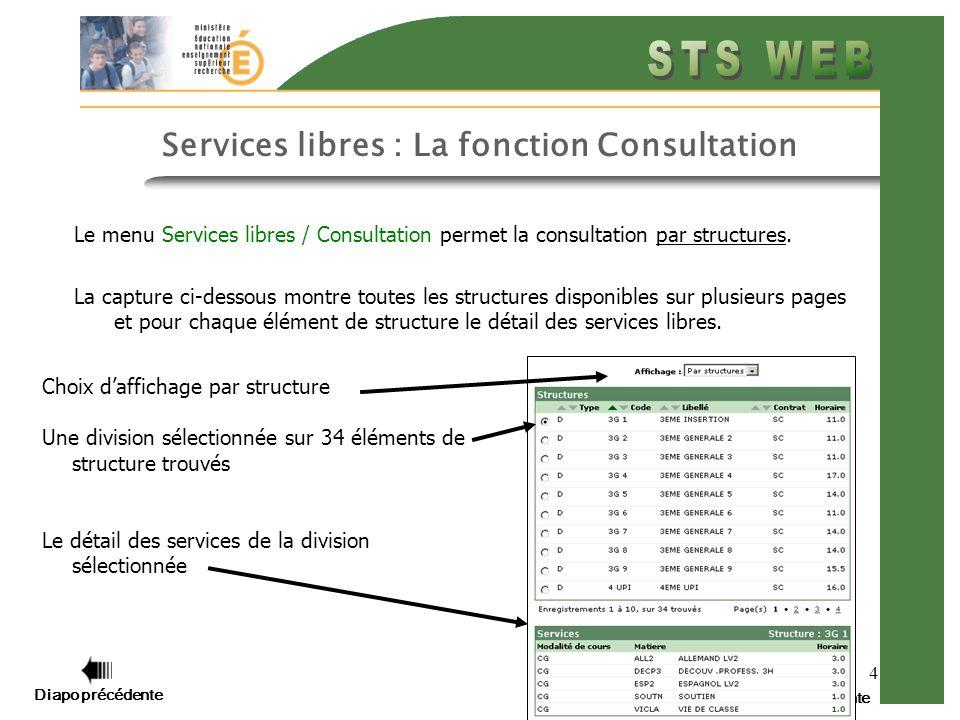 4 Diapo suivante Services libres : La fonction Consultation Le menu Services libres / Consultation permet la consultation par structures. La capture c