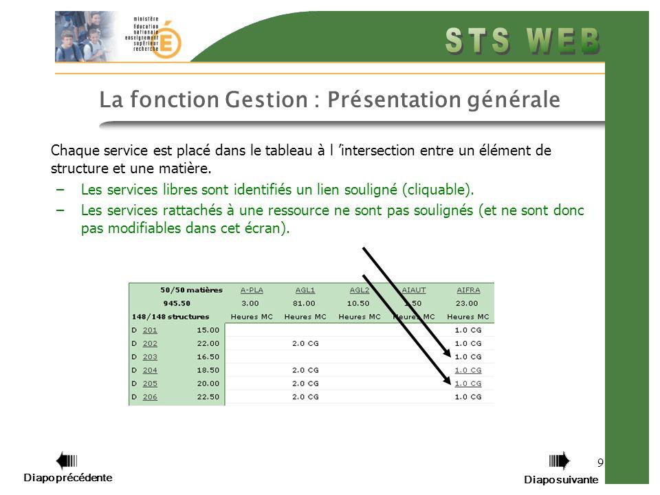 9 La fonction Gestion : Présentation générale Chaque service est placé dans le tableau à l intersection entre un élément de structure et une matière.