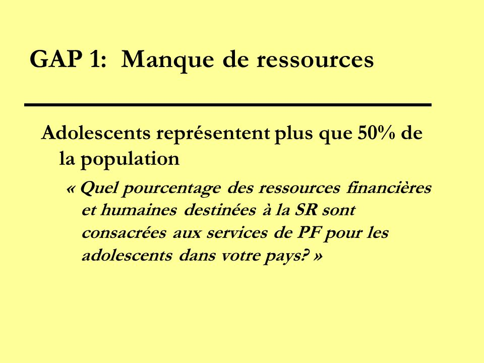 GAP 1: Manque de ressources Adolescents représentent plus que 50% de la population « Quel pourcentage des ressources financières et humaines destinées à la SR sont consacrées aux services de PF pour les adolescents dans votre pays.