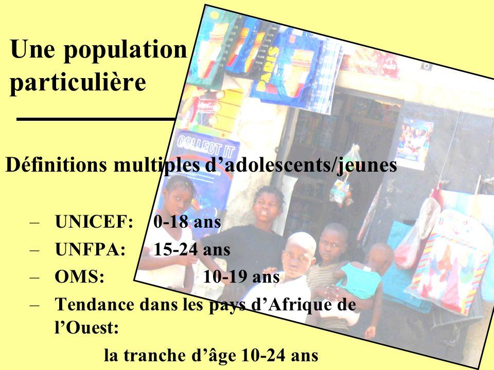 Définitions multiples dadolescents/jeunes –UNICEF: 0-18 ans –UNFPA:15-24 ans –OMS: 10-19 ans –Tendance dans les pays dAfrique de lOuest: la tranche dâ