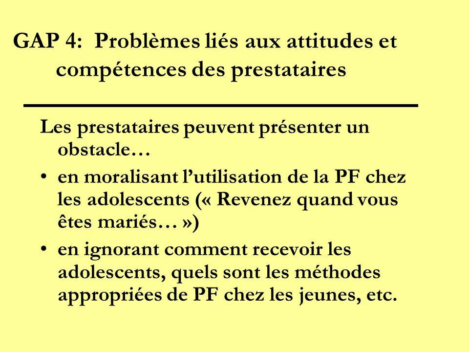 GAP 4: Problèmes liés aux attitudes et compétences des prestataires Les prestataires peuvent présenter un obstacle… en moralisant lutilisation de la P
