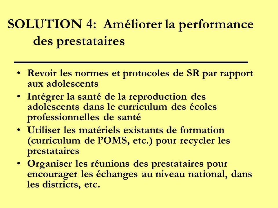 SOLUTION 4: Améliorer la performance des prestataires Revoir les normes et protocoles de SR par rapport aux adolescents Intégrer la santé de la reprod